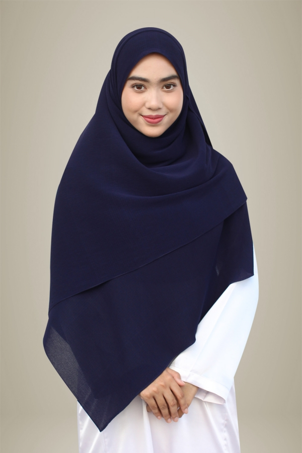Hasna Pleated Plain - Navy Blue