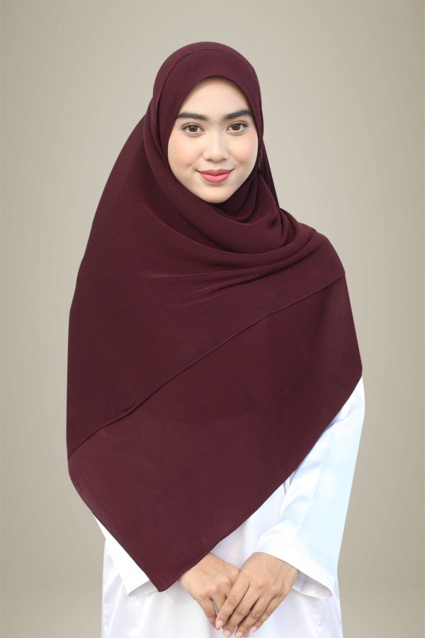 Hasna Pleated Plain - Prune